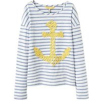 Joules Girls Cora Embellished Jersey Top, Blue Stripe Anchor, Size Age: 9-10 Years, Women