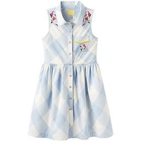 Joules Girls Gabrielle Woven Shirt Dress, Sky Blue Gingham, Size 7-8 Years, Women