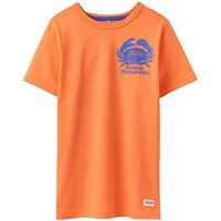 Boys, Joules Ben Screenprint T-shirt, Orange Crab, Size 9-10 Years
