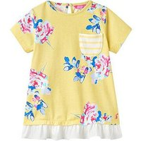 Joules Lulabelle Woven Trim Jersey Top, Yellow Margate Floral, Size Age: 4 Years, Women