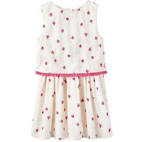 Joules Girls Imogen Woven Double Layer Dress - Cream Strawberry, Cream Strawberry Spot, Size 1 Year, Women
