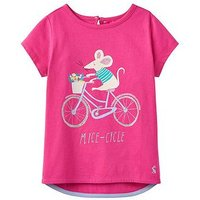 Joules Pixie Screen Printed T-shirt, Bright Pink Mice-Cycle, Size Age: 1 Year, Women