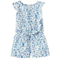 Joules Elle Jersey Frilled Playsuit, Folkestone Ditsy, Size 1 Year, Women