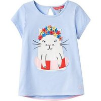 Joules Maggie Applique T-shirt, Sky Blue Swimming Cat, Size Age: 5 Years, Women