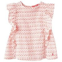 Joules Saffy Woven Top, Red Sky Starfish Geo, Size Age: 1 Year, Women