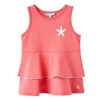 Joules Girls Double Peplum Jersey Top - Red Sky, Red Sky, Size Age: 1 Year, Women