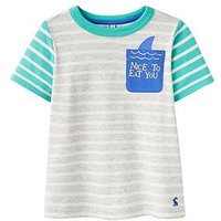 Boys, Joules Arthur Character Pocket Jersey T-shirt, Grey Shark Pocket, Size 4 Years