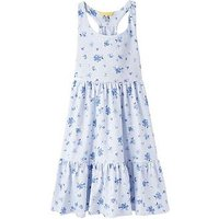 Joules Girls Juno Jersey Midi Dress, Sky Blue Sun Stripe, Size 5 Years, Women