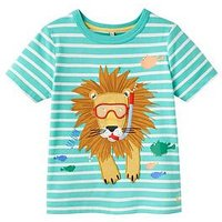 Boys, Joules Archie Applique Jersey T-shirt, Sea Lion Stripe, Size 3 Years