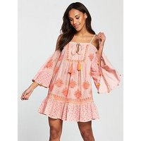 South Beach Cold Shoulder Printed Beach Dress With Pom Pom Sleeve Trim - Pink, Pink, Size M, Women