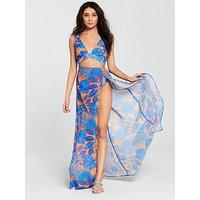 South Beach South Beach Tropical Leaf Cut Out Beach Dress With Double Split, Print, Size 8, Women