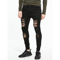 Sik Silk Distressed Skinny Jean, Black, Size 28, Length Regular, Men