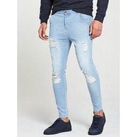 Sik Silk Distressed Skinny Jean, Light Blue, Size 28, Length Regular, Men