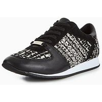 Carvela Lake Low Top Embellished Trainer, Black, Size 7, Women