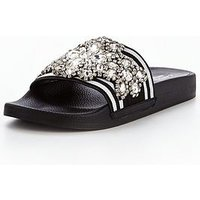 Carvela Kath Np Embellished Slider, Blk/White, Size 8, Women