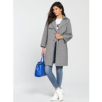 V by Very Bonded Check Trench Coat, Mono, Size 8, Women