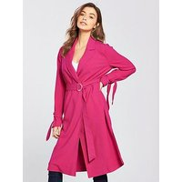 V by Very Duster Coat with Sleeve, Blush, Size 18, Women
