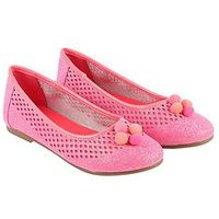 Billieblush Girls Glitter Pom Pom Ballet Shoe, Neon Pink, Size 13 Younger