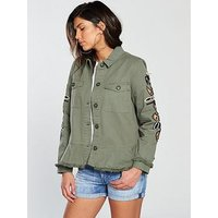 V by Very Embroidered Peplum Utility Jacket - Khaki, Khaki, Size 12, Women