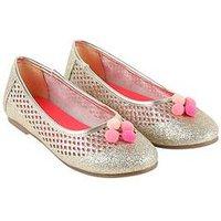 Billieblush Girls Glitter Pom Pom Ballet Shoe, Gold, Size 1 Older
