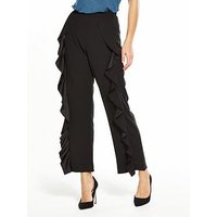 V by Very Frill Detail Trouser, Black, Size 18, Women