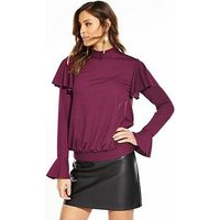V by Very Tie Back Long Sleeve Top - Plum, Plum, Size 16, Women