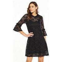 V by Very Lace Fluted Sleeve Dress, Black, Size 18, Women