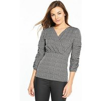 V by Very Check Wrap Jersey Top, Check, Size 16, Women