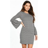 V by Very Check Fluted Sleeve Dress, Check, Size 20, Women