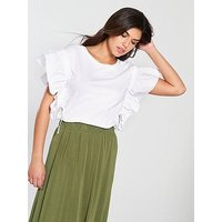 V by Very Ruched Drawstring Sleeve Top, White, Size 14, Women