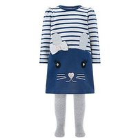 Monsoon Baby Dorris Mouse Dress And Tights, Navy, Size 2-3 Years
