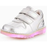 Kickers Kick Glow Lights Shoe, Silver, Size 9 Younger