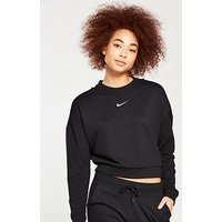 Nike Training Exclusive Cropped Open Back Sweater , Black, Size S, Women