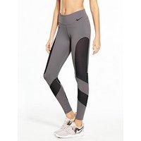 Nike Training Power Window Pane Legging, Grey, Size Xs, Women