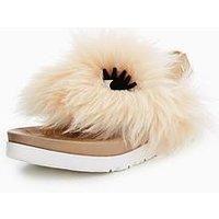 UGG Girls Sheepskin Punki Sandal - Natural Soft Ochre, Natural/Soft Ochre, Size 4 Older