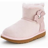 UGG Mini Bailey Button Poppy Boot, Seashell Pink, Size 3 Older
