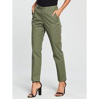 V by Very Short Girlfriend Chino Trouser - Khaki, Khaki, Size 20, Inside Leg Short, Women