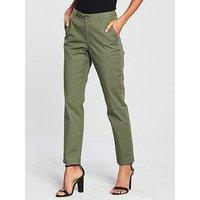 V by Very Short Girlfriend Chino Trouser - Khaki, Khaki, Size 14, Inside Leg Short, Women