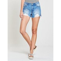 V by Very Distressed Raw Hem Denim Short - Mid Wash, Mid Wash, Size 12, Women