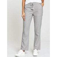 V by Very Linen Trouser - Grey, Grey, Size 20, Inside Leg Regular, Women