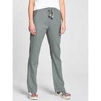 V by Very Short Linen Mix Trouser - Khaki, Khaki, Size 16, Inside Leg Short, Women