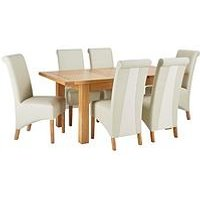 Oakland 140 - 180 Cm Solid Wood Extending Dining Table + 6 Sienna Chairs