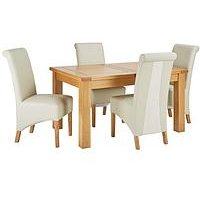 Oakland 140 - 180 Cm Solid Wood Extending Dining Table + 4 Sienna Chairs