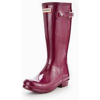 Hunter Original Kids Gloss Welly, Violet, Size 2 Older