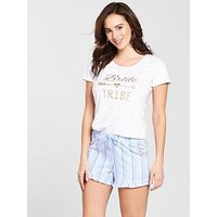 V by Very Bride Tribe Short Pj, White, Size 22-24, Women