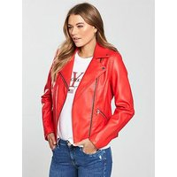 V by Very Faux Leather Biker Jacket, Red, Size 14, Women