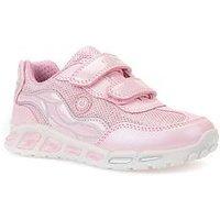 Geox Girls Shuttle Velcro Strap Trainer, Pink/Silver, Size 4 Older