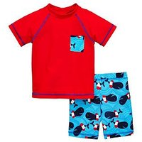 Mini V by Very Boys Whale 2pc Surf Suit, Red/Blue, Size Age: 6-9 Months