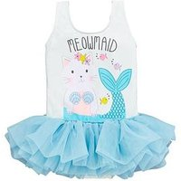 Mini V by Very Girls Glitter Meowmaid Tutu Swimsuit – Blue, Blue, Size Age: 9-12 Months, Women