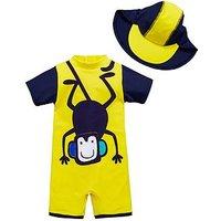 Mini V by Very Boys 2pc Monkey Sunsafe & Hat, Multi, Size Age: 18-24 Months